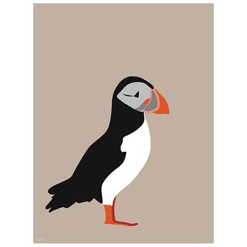 puffin art print - kraft - digital download