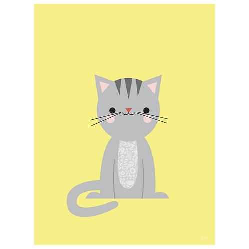 calico cat art print - yellow - digital download