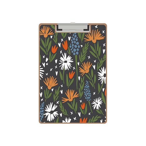 CLIPBOARD mixed floral sketchy charcoal pattern