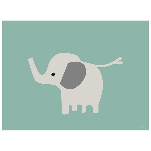baby elephant art print - dark seafoam - digital download