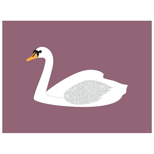 swan art print - grape - digital download
