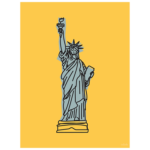 statue of liberty art print - mustard - digital download