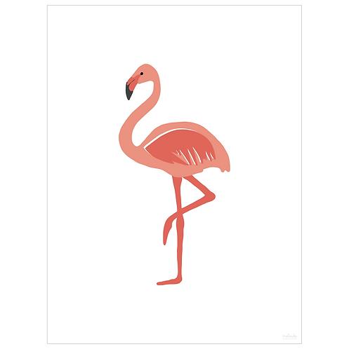 flamingo art print - white - digital download