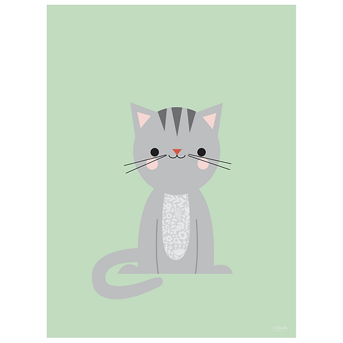calico cat art print - mint - digital download