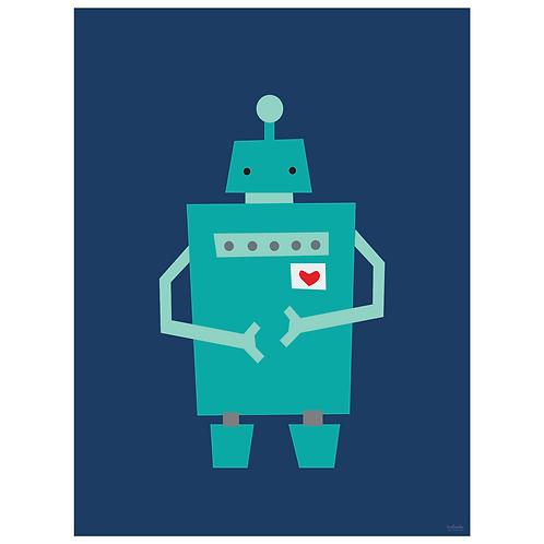block robot art print - navy - digital download