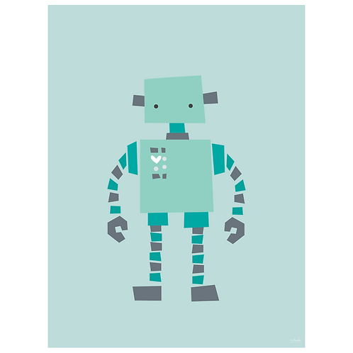 original robot art print - powder blue - digital download