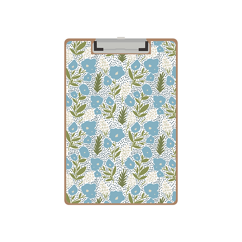 CLIPBOARD pocket full of posies light blue pattern