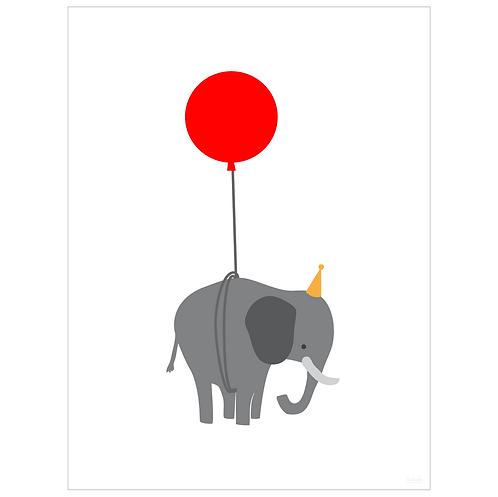elephant on balloon art print - white - digital download