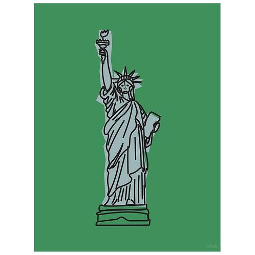 statue of liberty art print - green - digital download