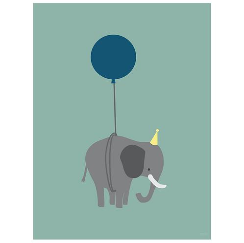 elephant on balloon art print - dark seafoam - digital download