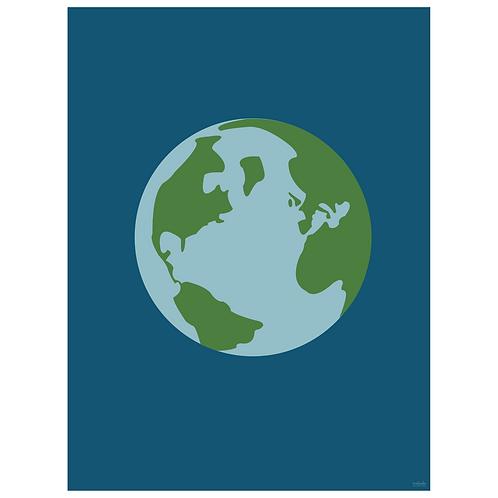 world globe art print - navy - digital download