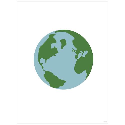 world globe art print - white - digital download