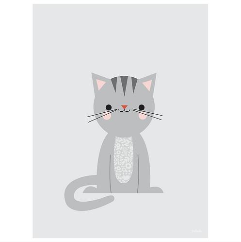 calico cat art print - grey - digital download