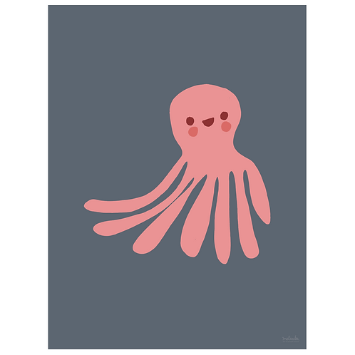 octopus art print - navy - digital download