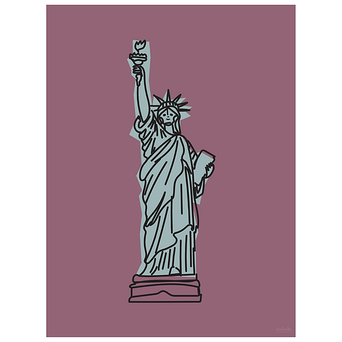 statue of liberty art print - grape - digital download