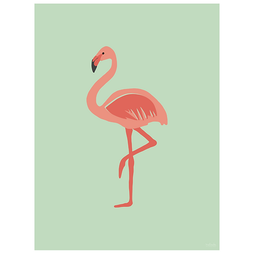 flamingo art print - mint - digital download