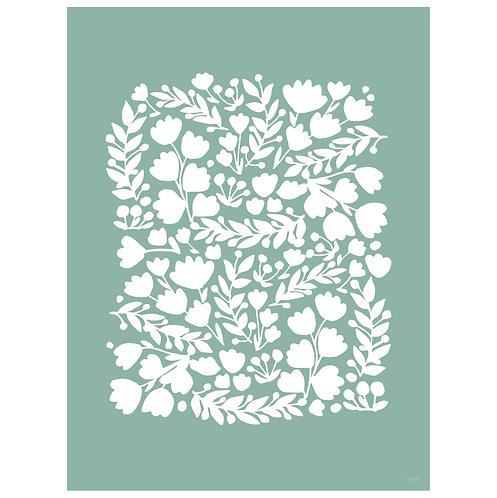 floral cutout art print - dark seafoam - digital download