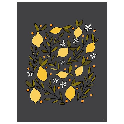 lemon blossom art print - dark charcoal - digital download