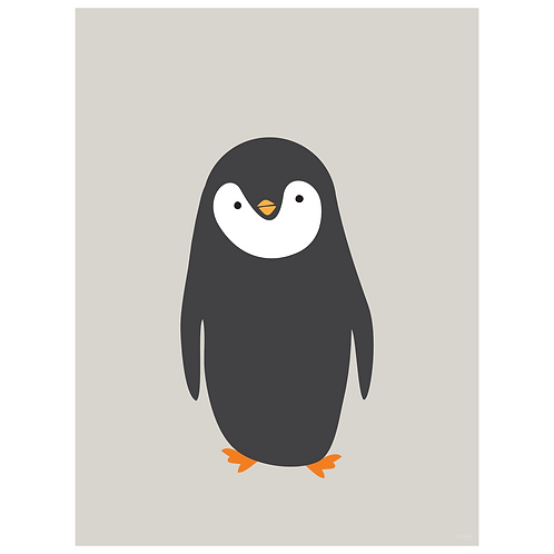 penguin art print - grey - digital download
