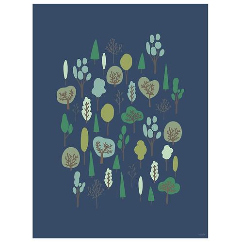 forest vertical art print - navy - digital download