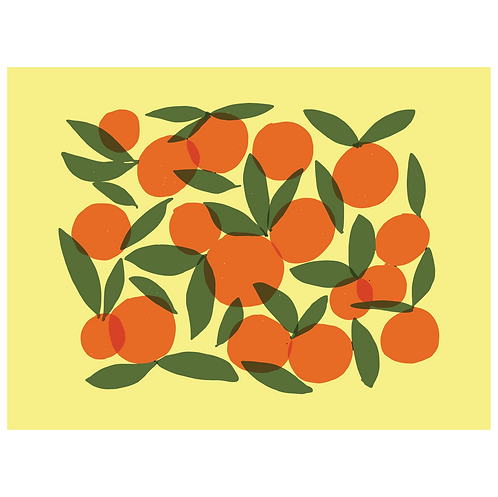 oranges art print - yellow - digital download