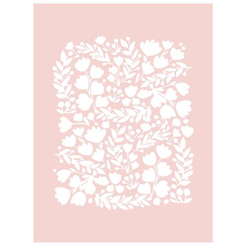 floral cutout art print - pink - digital download