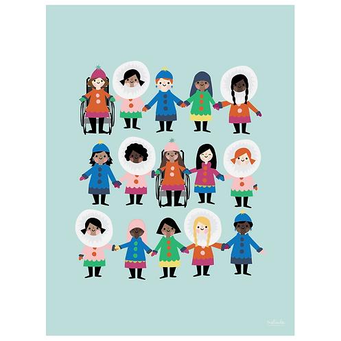 girl power art print - powder blue - digital download