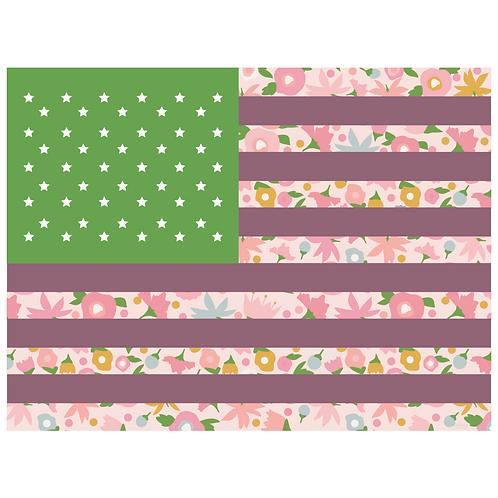 flag art print - tiny floral pink green & grape - digital download