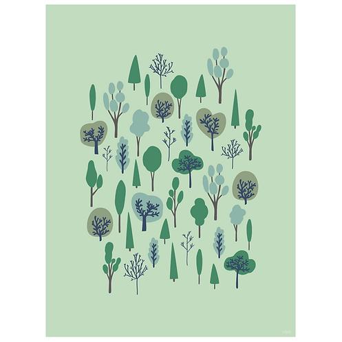forest vertical art print - mint - digital download