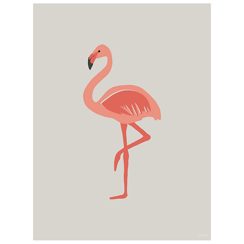 flamingo art print - grey - digital download