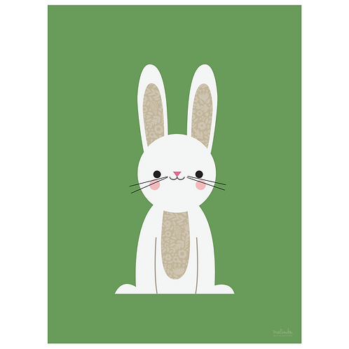 bunny art print - green - digital download