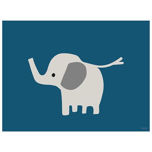 baby elephant art print - navy - digital download