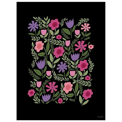 folk floral art print - pink purple on black - digital download