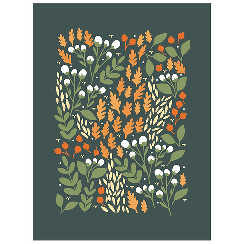 pom and cotton floral - dark green