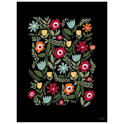 folk floral art print - light blue on black - digital download