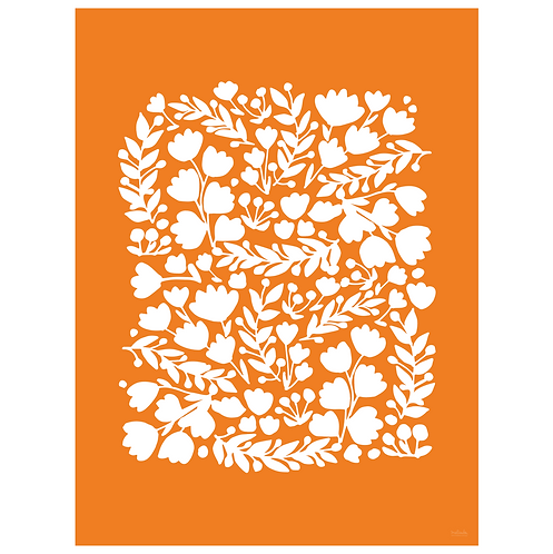 floral cutout art print - orange - digital download