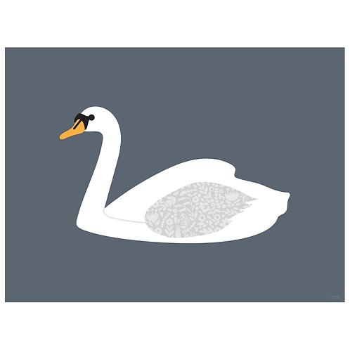 swan art print - grey navy - digital download