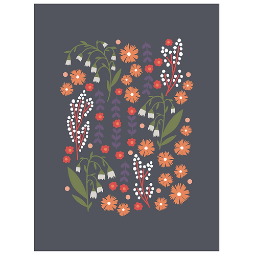 lillies valley floral mix - dark charcoal