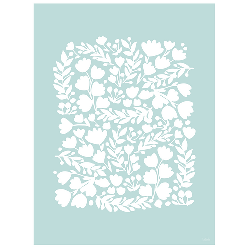 floral cutout art print - powder blue - digital download
