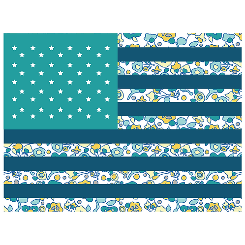 flag art print - original floral teal - digital download