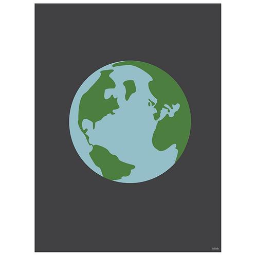 world globe art print - charcoal - digital download