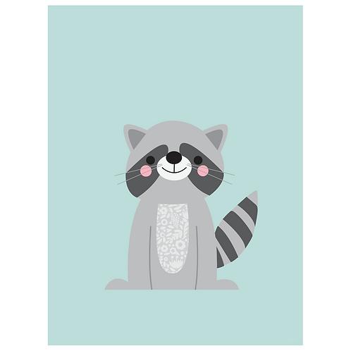 raccoon art print - powder blue - digital download