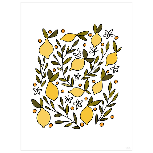 lemon blossom art print - white - digital download