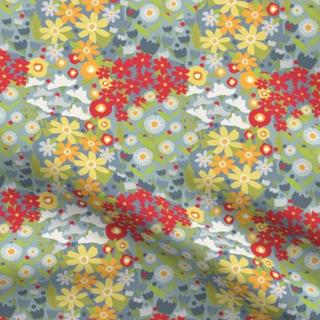 melimba HAPHAZARD floral blue SPOONFLOWER