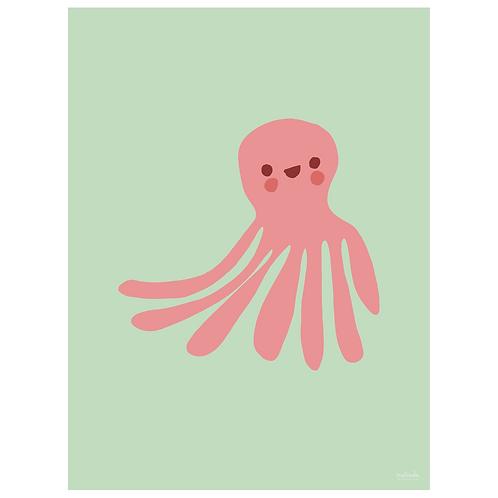 octopus art print - mint - digital download