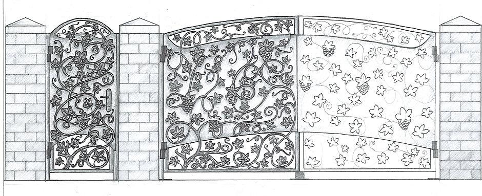 Эскиз ворот из винограда.