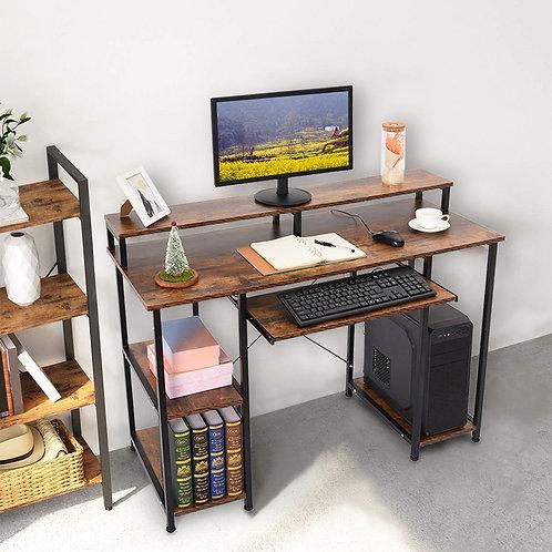 Modern Computer Desk With Storage Shelves, Home Office Computer Desk Workstation