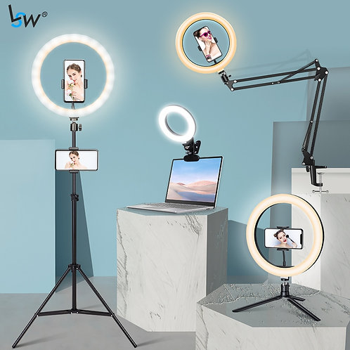 Phone Tripod with light or Overhead Arm Clip for Phone, Desktop Laptop Light