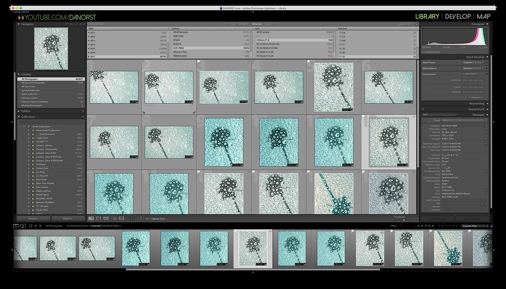 Metadata sorting by Camera, Lense and Aperature