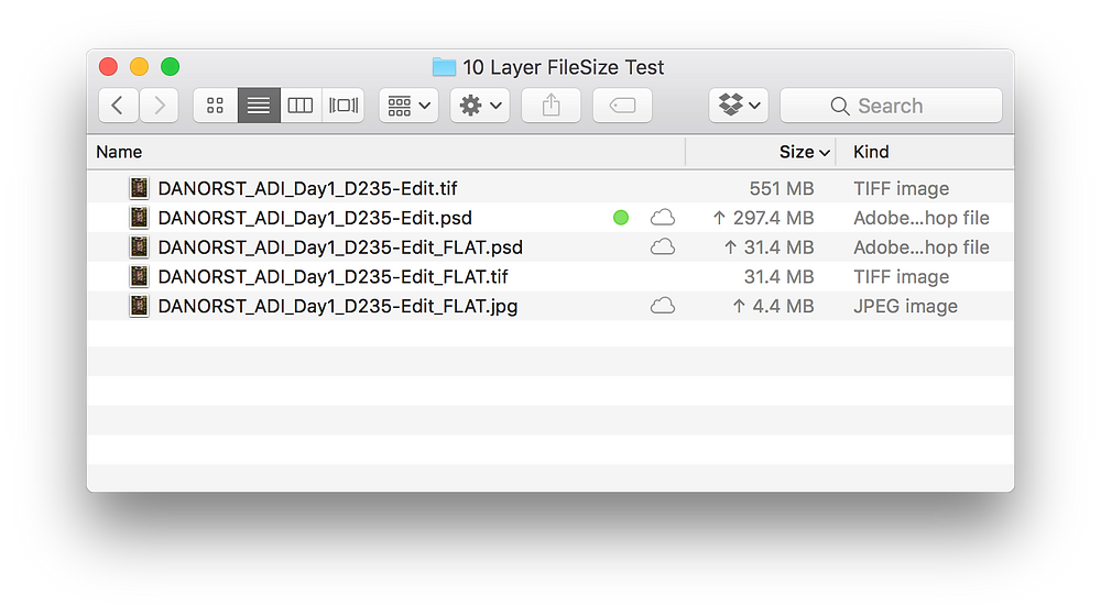 FileSize of same 10 Layer file as TIF & PSD